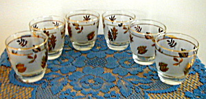 6 LIBBEY GOLDEN FOLIAGE TALL TUMBLERS (Image1)