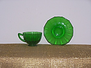 GREEN GLASS CUP & SAUCER (Image1)