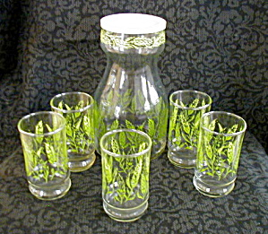 Wheat Juice Decanter & 5 Matching Glasses