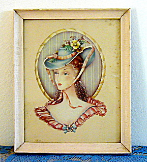 VICTORIAN LADY IN BLUE HAT FRAMED PRINT (Image1)