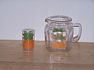 Federal Glass Orange Juice Pitcher & Glass