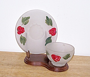 FROSTED CUP & SAUCER, STRAWBERRY DESIGN (Image1)