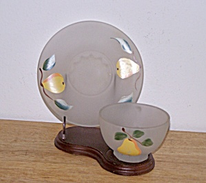 FROSTED CUP & SAUCER, PEAR DESIGN (Image1)