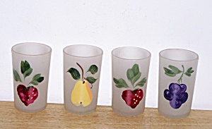 4 Frosted Juice Glasses, Fruit Designs