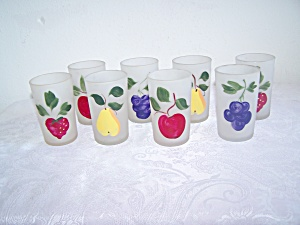 SET OF 4 FROSTED FRUIT DESIGNS JUICE GLASSES (Image1)