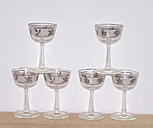 6 Libbey Silver Foliage Cocktail Glasses