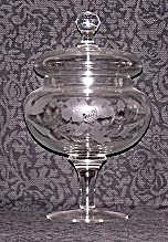 ETCHED WHEEL CUT PEDESTAL CANDY DISH W/COVER (Image1)