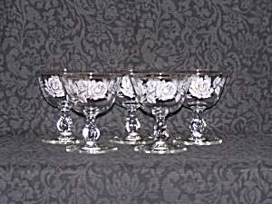 DESSERT GLASSES, WHITE & GOLD ROSES, SET OF 5 (Image1)