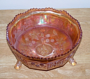 Butterflies And Berries Carnival Glass Bowl