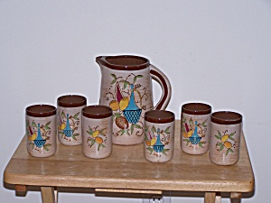 Nasco Juice Pitcher & 6 Glasses