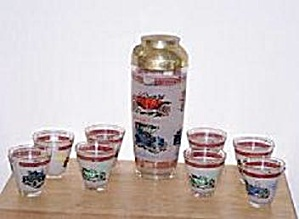 OLD AUTOS COCKTAIL SHAKER & 8 MATCHING GLASSES (Image1)