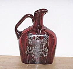 RUBY RED GLASS PITCHER, SILVER OVERLAY SAILING SHIP (Image1)