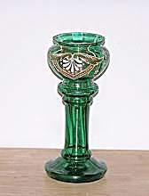 Enameled Trim Green Glass Pedestal Vase