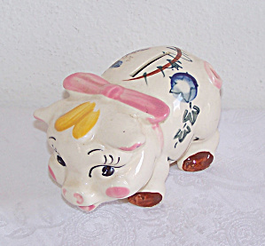 Small PIGGY BANK with Vines & Pink Bow, Japan (Image1)