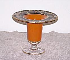 ORANGE GLASS COMPOTE, BLACK & GOLD TRIM (Image1)