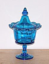 BLUE GLASS COVERED CANDY DISH (Image1)