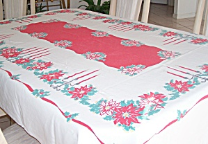 CHRISTMAS PRINT VINTAGE TABLECLOTH (Image1)