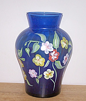 Huge Hand Painted Blue Ribbed Vase