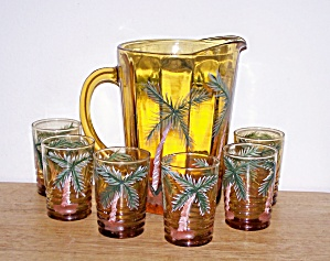 HAND PAINTED AMBER GLASS PITCHER & 6 GLASS SET (Image1)