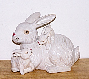 Concrete Rabbits Door Stop/lawn Ornament