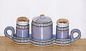 Blue Lustreware Salt, Pepper, Mustard In Tray