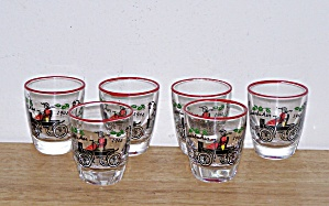 6 OLD AUTO SHOT GLASSES BY LIBBEY (Image1)