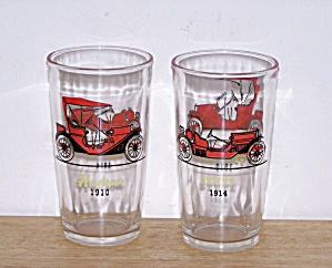 HAZEL ATLAS OLD AUTOS 2 HIGHBALL GLASSES (Image1)