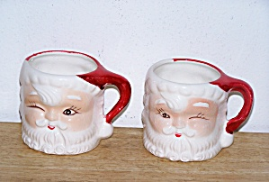 Pair Of Santa Face Mugs