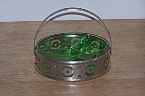 Green Condiment Dish In Silver Plate Holder