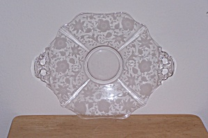 Cambridge Etched Flowers Dbl. Handled Platter
