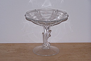 Fostoria baroque glass compote leaf stem elegant at for Clear baroque glass