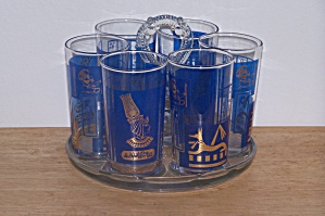 6 Egyptian Glasses In Holder