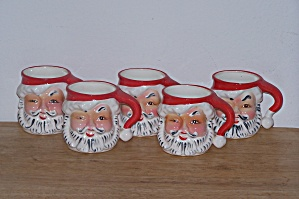 Set Of 5 Santa Head Mugs