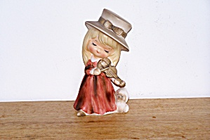 Norleans Girl Playing Violin W/ Dog Watching Figurine