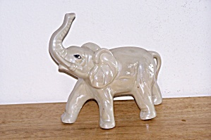 LUSTRE ELEPHANT FIGURINE W/RAISED TRUNK, BRAZIL (Image1)