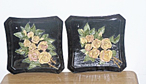 Pair Of Capodamonte Wall Plaques