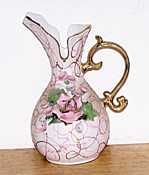 PORCELAIN OVERLAY PITCHER W/ ROSES (Image1)
