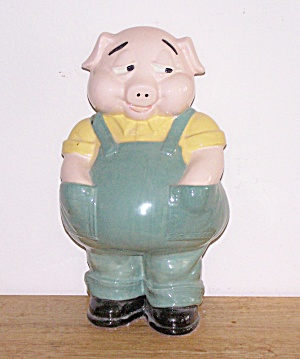 LARGE BOY PIG IN BLUE OVERALLS FIGURE (Image1)