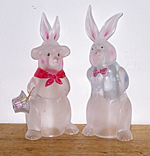 Pair of Tall Frosted  HARD PLASTIC RABBITS (Image1)