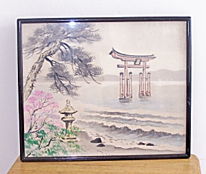 ORIENTAL BRIDGE & WATER SCENE FRAMED SILK PRINT (Image1)