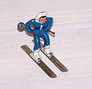 Girl In Blue Skier Lead Figure