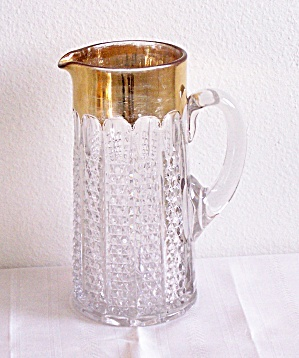 GOLD RIM GLASS TANKARD PITCHER (Image1)