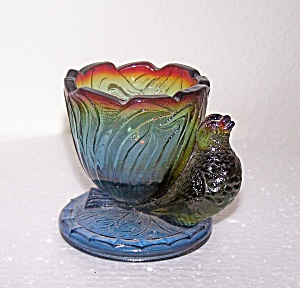PURPLE CARNIVAL GLASS TOOTHPICK HOLDER W/BIRD (Image1)