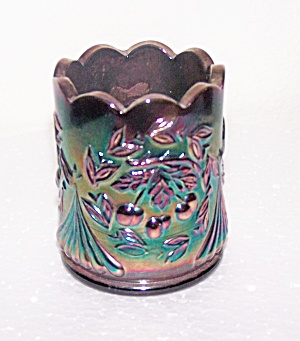 CARNIVAL GLASS CHERRY DESIGN TOOTHPICK HOLDER (Image1)