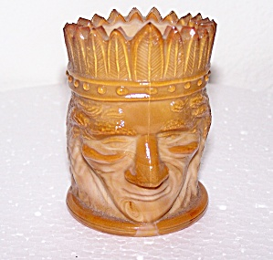 SLAG GLASS INDIAN HEAD TOOTHPICK HOLDER (Image1)