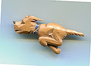 Wooden Running Dog Pin