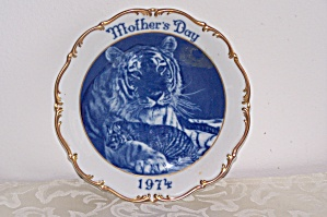 1974 Dresden Mother Day's Plate With Tigers