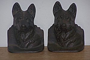 Metal German Shepherd Dog Head Bookends