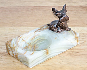 Metal Scottie Dog On Alabaster Base