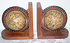 Pr. Wooden & Metal Old World Globe Bookends